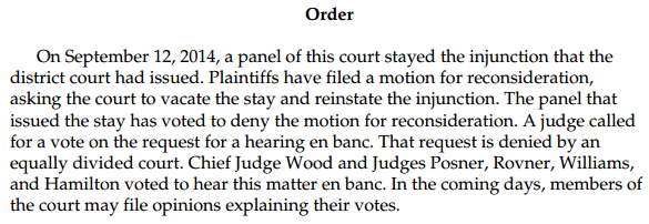 Wisconsin Voter ID 7th Circuit en banc Order denying review