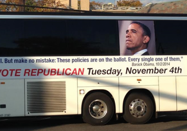 Bus sign Obama 2014 Manhasset cropped