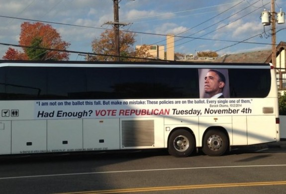 Bus sign Obama 2014 Manhasset