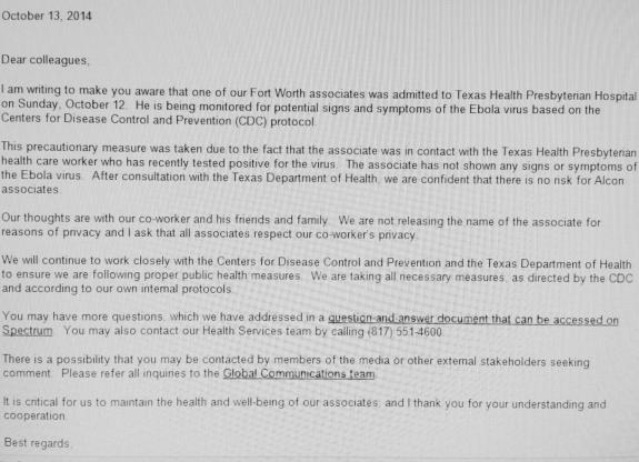 Ebola Note possible exposure Texas Presbyterian