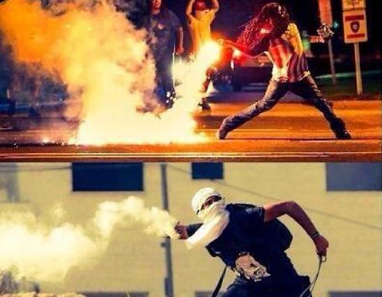 Ferguson Palestinian throwing tear gas via @iFalasteen Twitter cropped