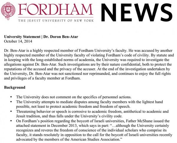 Fordham statement re Doron Ben-Atar
