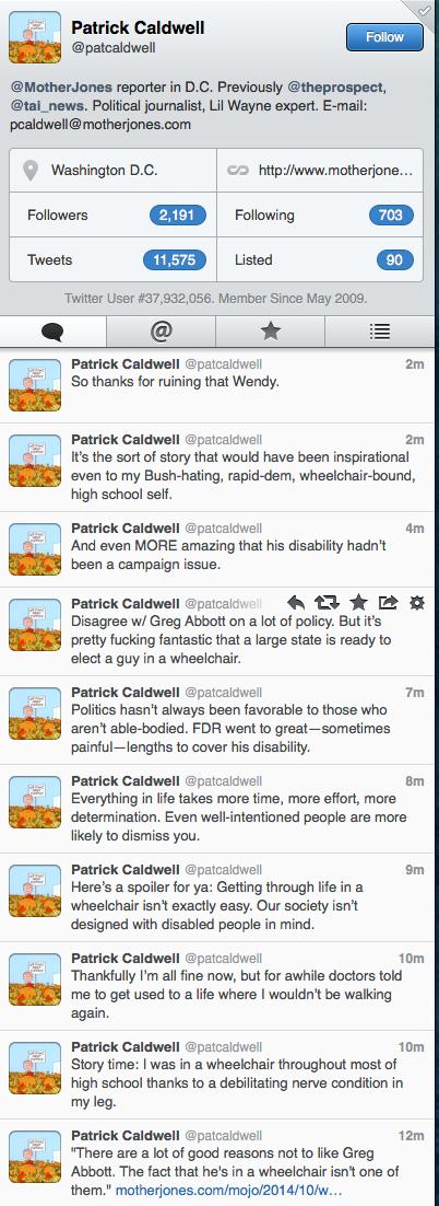 Patrick Caldwell Twitter Wendy Davis Wheelchair Ad