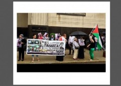 Protesters outside federal courthouse Rasmea Yousef Odea w border