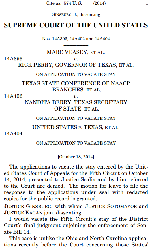 Texas Voter ID Supreme Court Order first page