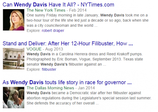 Wendy Davis positive headlines