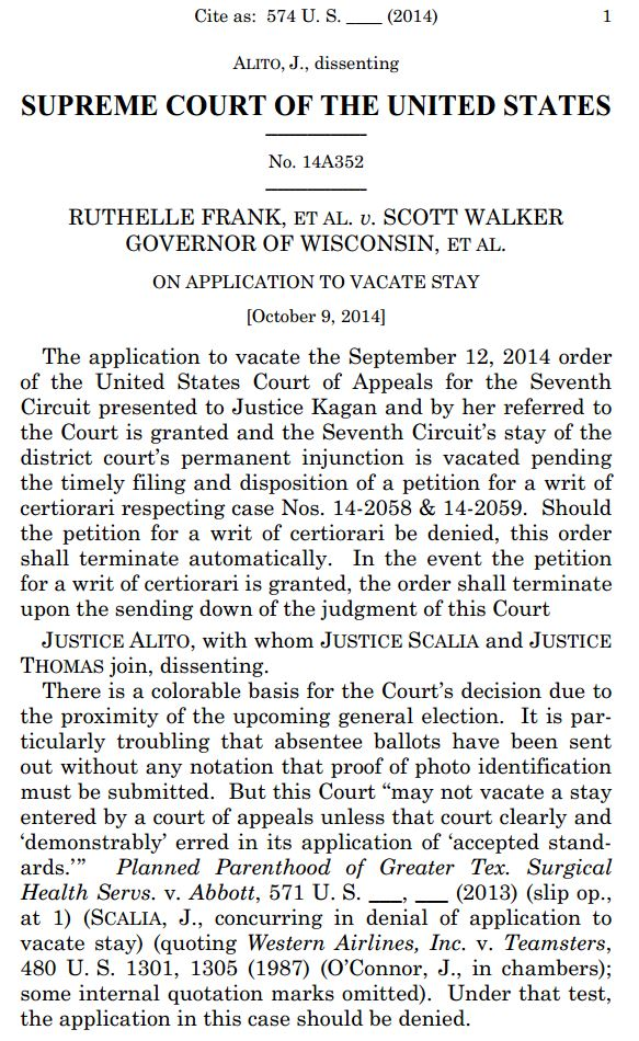 Wisconsin Voter ID Supreme Court Order Staying