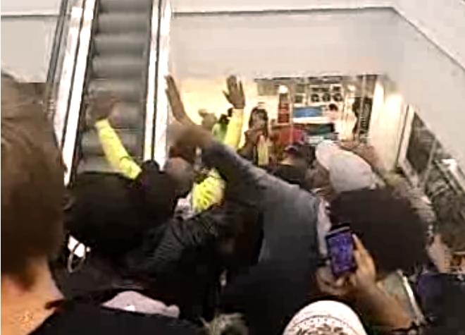 South County Mall Ferguson Protest Bassem Masri Video Sears Escalator