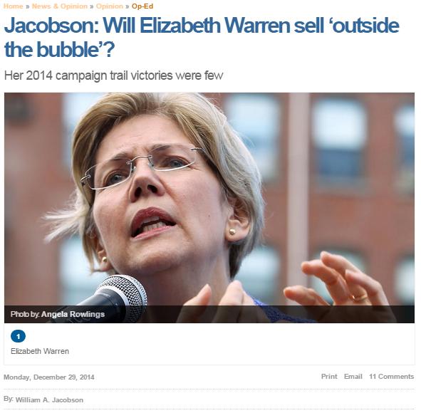 Boston Herald Will Elizabeth Warren Sell Outside the Bubble
