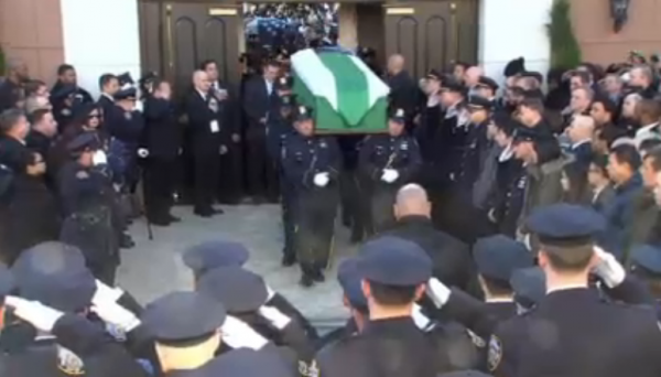 Rafael Ramos NYPD Funeral casket being carried out