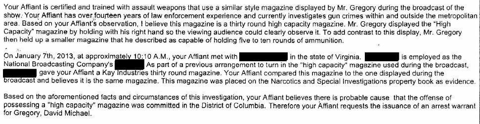 DC Police - Affidavit in Support of Arrest Warrant for David Gregory excerpt recommendation