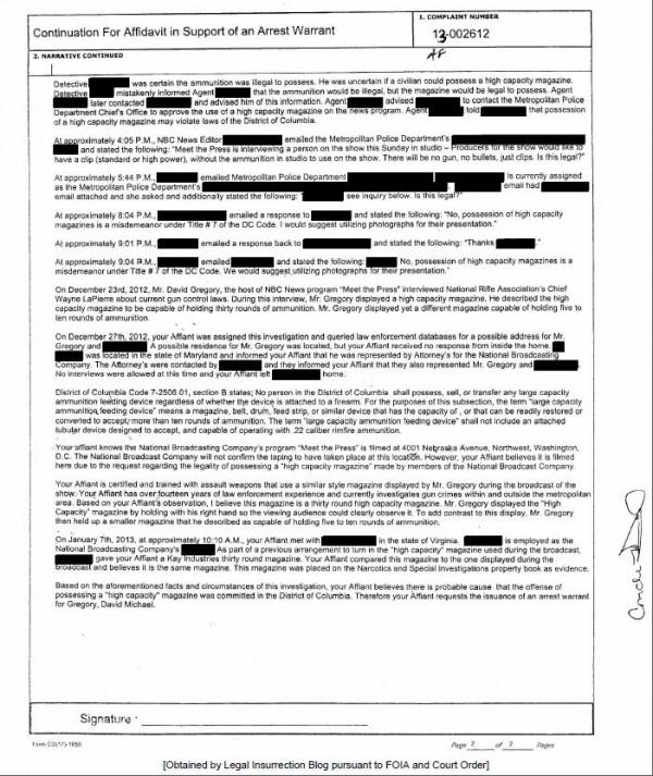 DC Police - Affidavit in Support of Arrest Warrant for David Gregory page 2 of 2