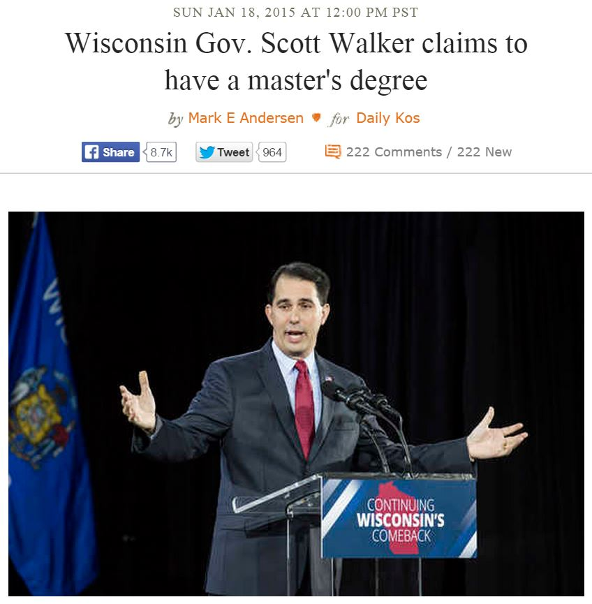 Daily Kos Scott Walker Claims To Have Masters Degree