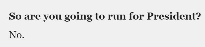 Elizabeth Warren Not Going To Run