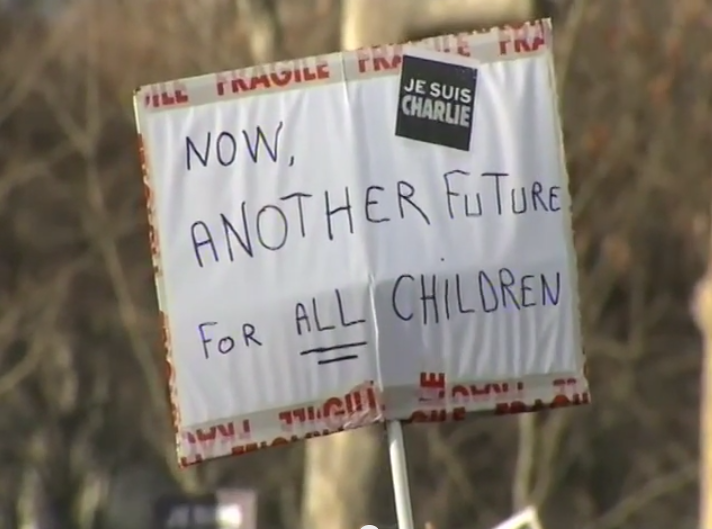 Paris National Unity Rally Another Future for Children Sign