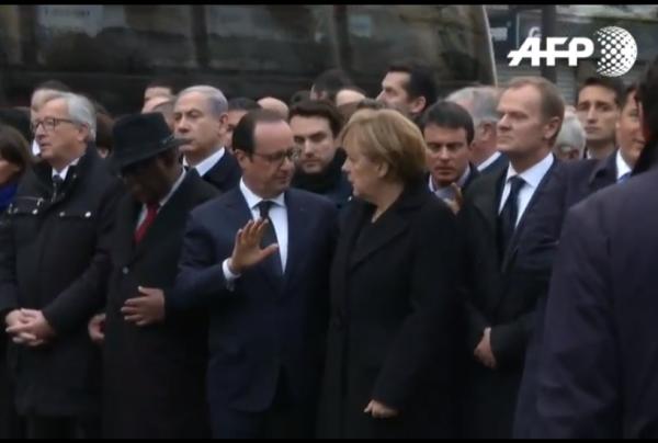 Paris National Unity Rally Hollande Merkel