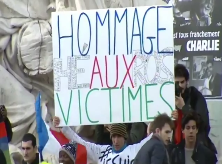 Paris National Unity Rally Honor the Victims Sign