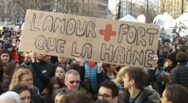 Paris National Unity Rally Love is Stronger than Hate