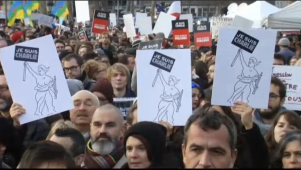 Paris National Unity Rally Signs Je Suis Charlie