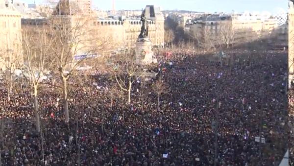 Paris National Unity Rally overhead crowd