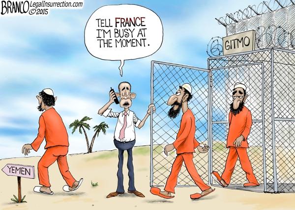 Obama Snubs France   A.F.Branco   Conservative Cartoon
