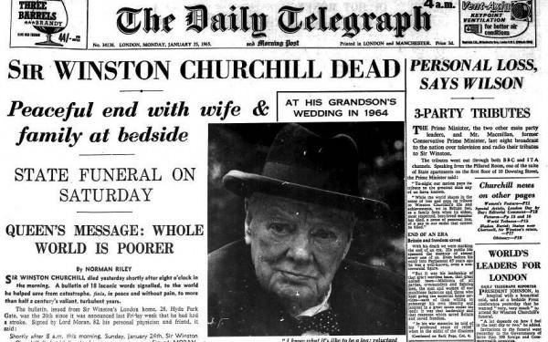 Winston Churchill Death Daily Telegraph