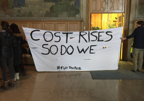 Cornell Fight The Fee Costs Rise Prostest Sign