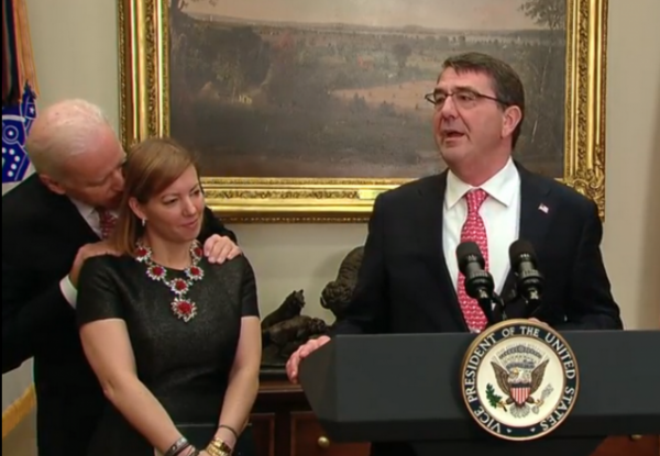 Joe Biden Gaffe Ashton Carter Wife Secretary of Defense