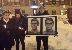 Rasmea Odeh Protest Vigil DePaul 2-3-2015 Student Holding Photos