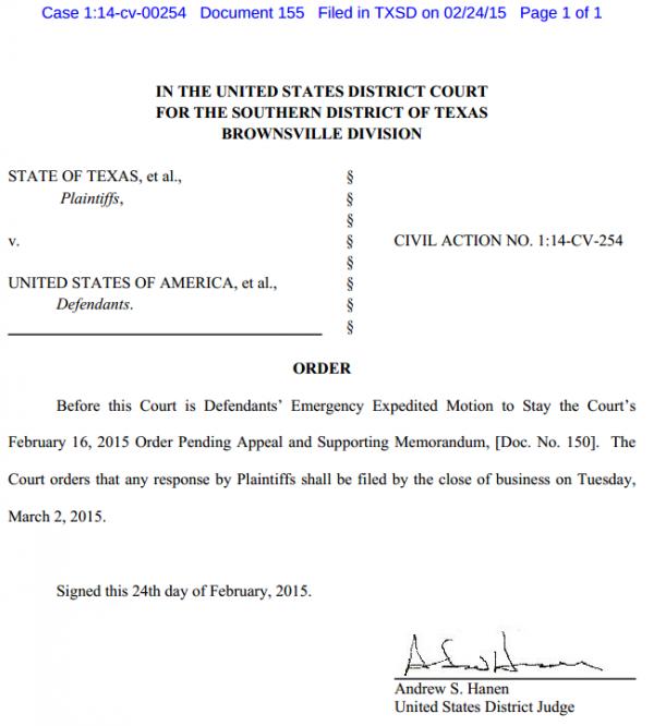 Texas v. U.S. - Immigration Case - Order 2-24-2014 Re Emergency Stay Deadline