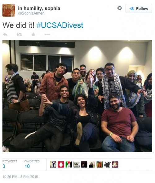 Twitter UC Student Government Anti Israel Students Celebrate