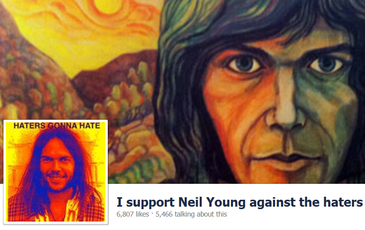 I Support Neil Young against the haters Facebook Page Banner