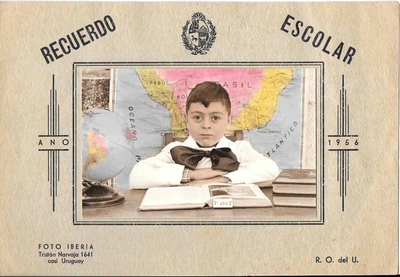[Leon at the age of 8 in school uniform in Uruguay.]