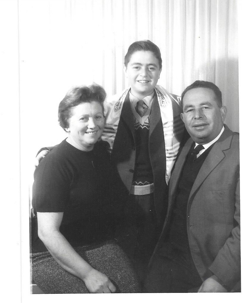 [Leon Kanner with his parents Clara and Marcus, at his Bar-Mitzvah, 1961]