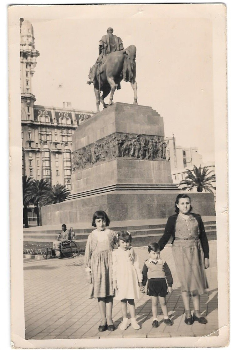 [Leon with his 3 sisters in Uruguay.]