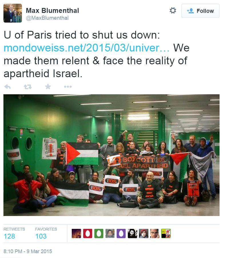 Max Blumenthal Israeli Apartheid Event U. Paris Tweet