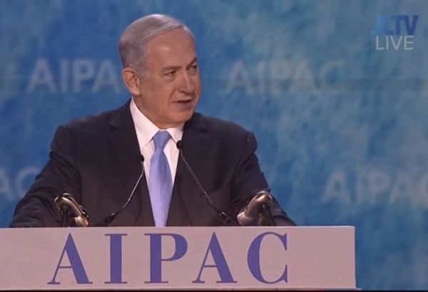 Netanyahu AIPAC on stage