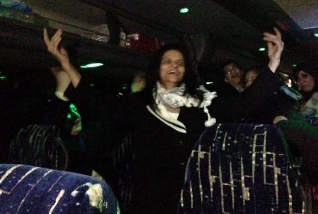 Rasmea Odeh Dancing Bus after Sentencing Photo