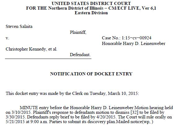 Salaita v. Kennedy - Minute Entry Motion to Dismiss Schedule