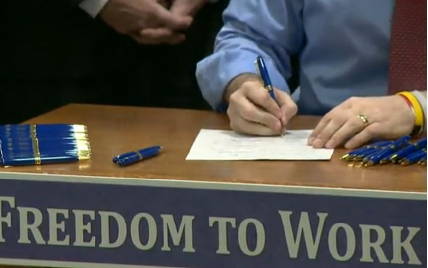 Scott Walker Right to Work Signing close up