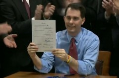Scott Walker Right to Work Signing holding up bill