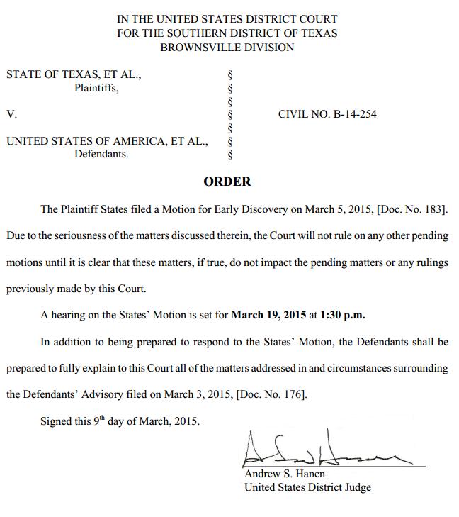 Texas v. U.S. - Immigration Case - Order March 5 2015 re U.S. Advisory