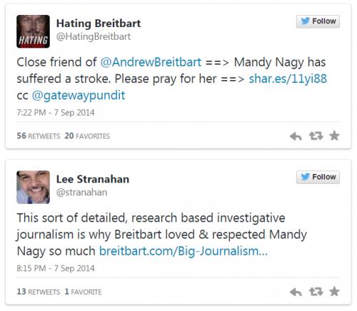 Tweets Andrew Breitbart and Mandy Nagy