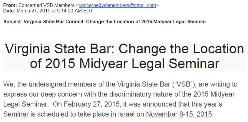 Virginia State Bar Email from 36 Members March 27 2015