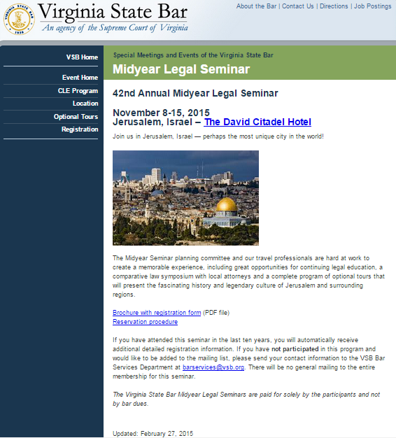 Virginia State Bar Mid Year Legal Seminar Update 2-27-2015