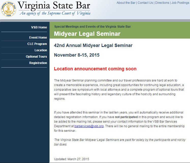 Virginia State Bar Mid Year Legal Seminar Update 3-27-2015