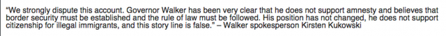 scott walker amnesty flip flops change stance wall street journal spokesman statement denial