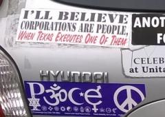 Bumper Sticker - U. VA - Execute Corporations close up