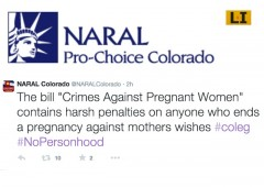 NARAL Colorado Personhood anti-abortion pro-abortion infanticide SB-268 Colorado