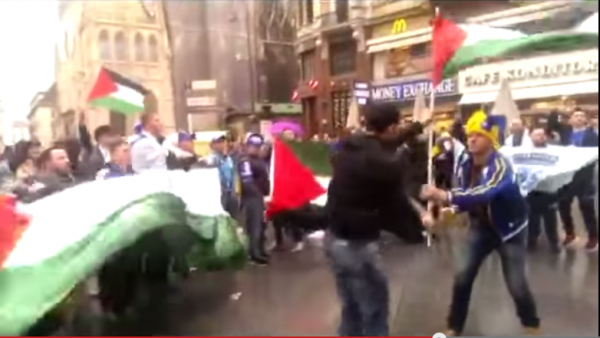 Palestinian Flag Vienna Kill the Jews handed off